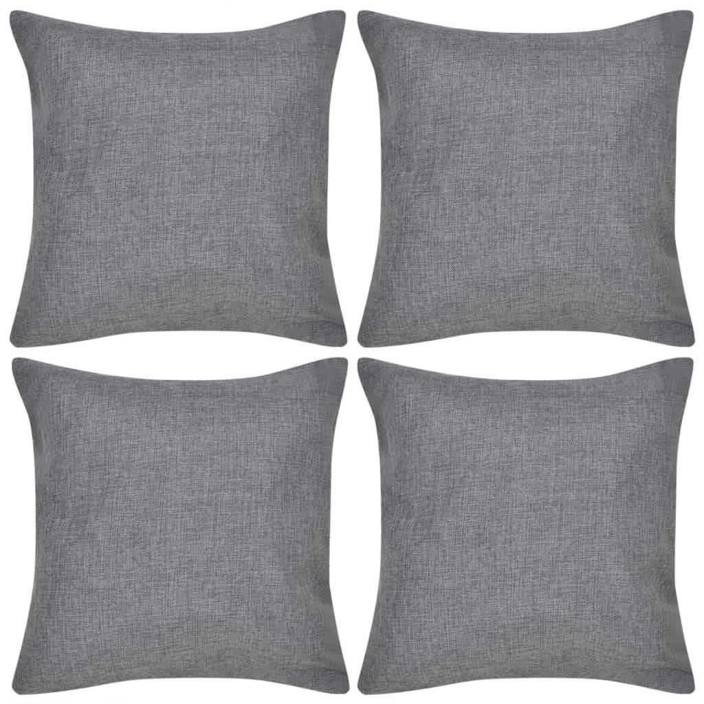 4 antracitové povlaky na polštářky, se vzhledem lnu 50 x 50 cm