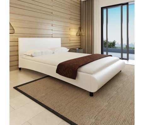 kunstlederbett bogendesign 140x200 wei memory matratze memory topper g nstig kaufen. Black Bedroom Furniture Sets. Home Design Ideas