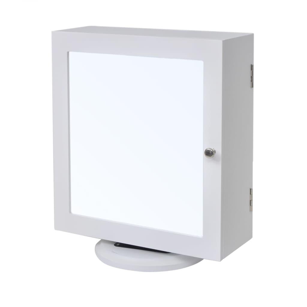 vidaXL Dulap de bijuterii/depozitare cu oglindă, alb, MDF vidaxl.ro