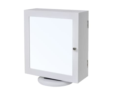 vidaXL Mirrored Jewelry/Storage Cabinet White MDF[1/8]