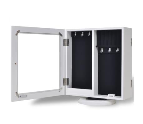 vidaXL Mirrored Jewelry/Storage Cabinet White MDF[5/8]