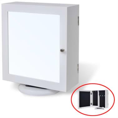 vidaXL Mirrored Jewelry/Storage Cabinet White MDF[2/8]