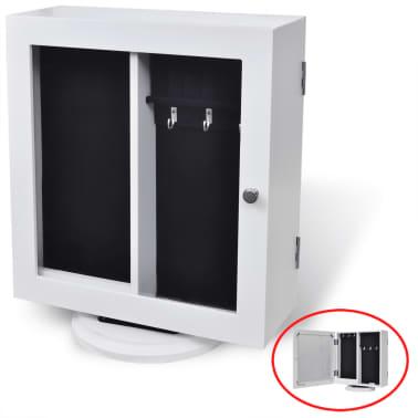 vidaXL Mirrored Jewelry/Storage Cabinet White MDF[3/8]