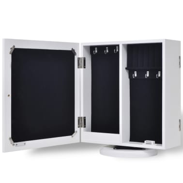 vidaXL Mirrored Jewelry/Storage Cabinet White MDF[4/8]