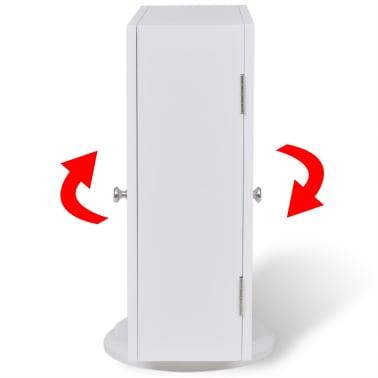 vidaXL Mirrored Jewelry/Storage Cabinet White MDF[6/8]