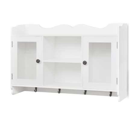 White MDF Wall Cabinet Display Shelf Book/DVD/Glass Storage