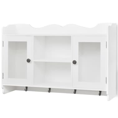 White MDF Wall Cabinet Display Shelf Book/DVD/Glass Storage[2/8]