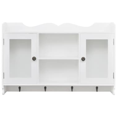 White MDF Wall Cabinet Display Shelf Book/DVD/Glass Storage[3/8]