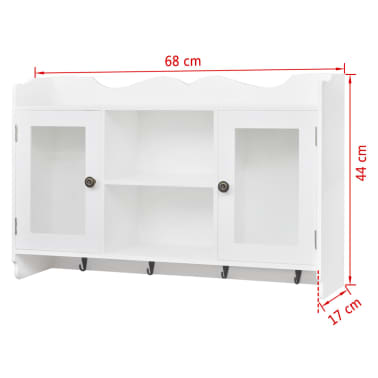 White MDF Wall Cabinet Display Shelf Book/DVD/Glass Storage[8/8]