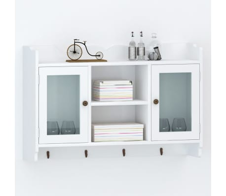 White MDF Wall Cabinet Display Shelf Book/DVD/Glass Storage[1/8]