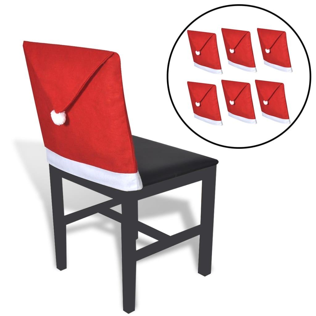 6 x Čepice Santa Claus, vánoční potah na opěradlo židle