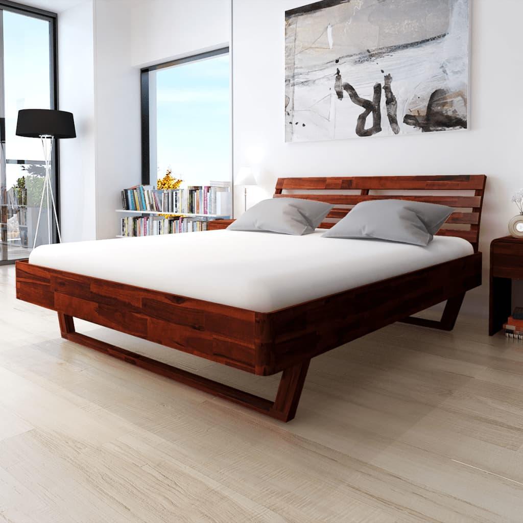 vidaXL Cadru de pat, maro, 180 x 200 cm, lemn masiv de acacia vidaxl.ro