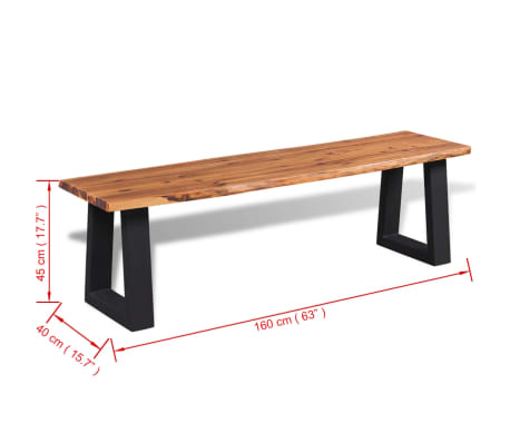 "vidaXL Solid Acacia Wood Bench 63""[6/6]"