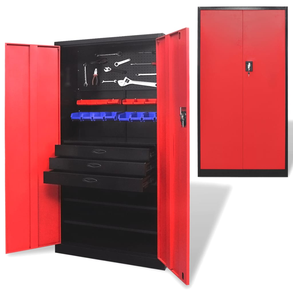 vida-xl-metal-tool-storage-cabinet-with-removable-chest-black-red