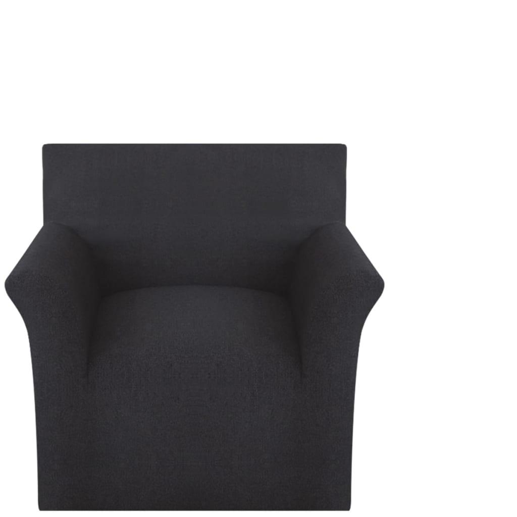 vidaXL Husă elastică pentru canapea, bumbac jersey, negru vidaxl.ro