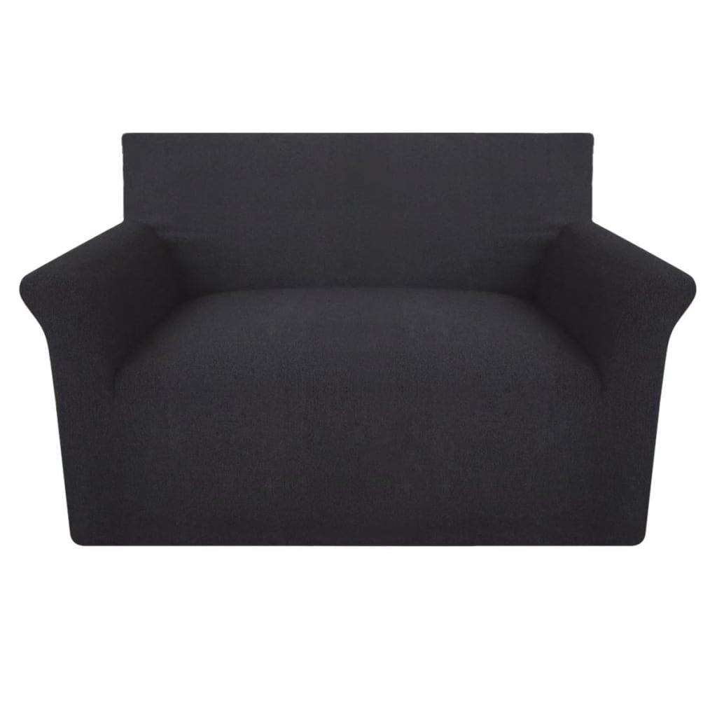 vidaXL Husă elastică din bumbac Jersey pentru canapea, Antracit poza 2021 vidaXL