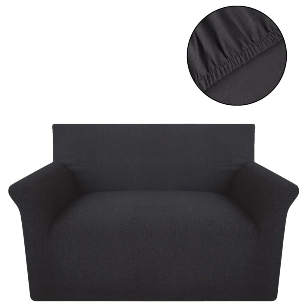 vidaXL Strečový potah na pohovku, antracivový bavlněný žerzej