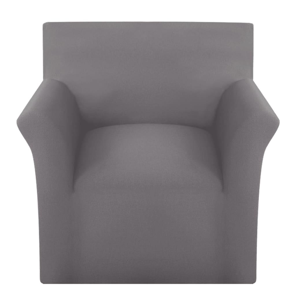vidaXL Husă elastică pentru canapea, bumbac jersey, gri vidaxl.ro