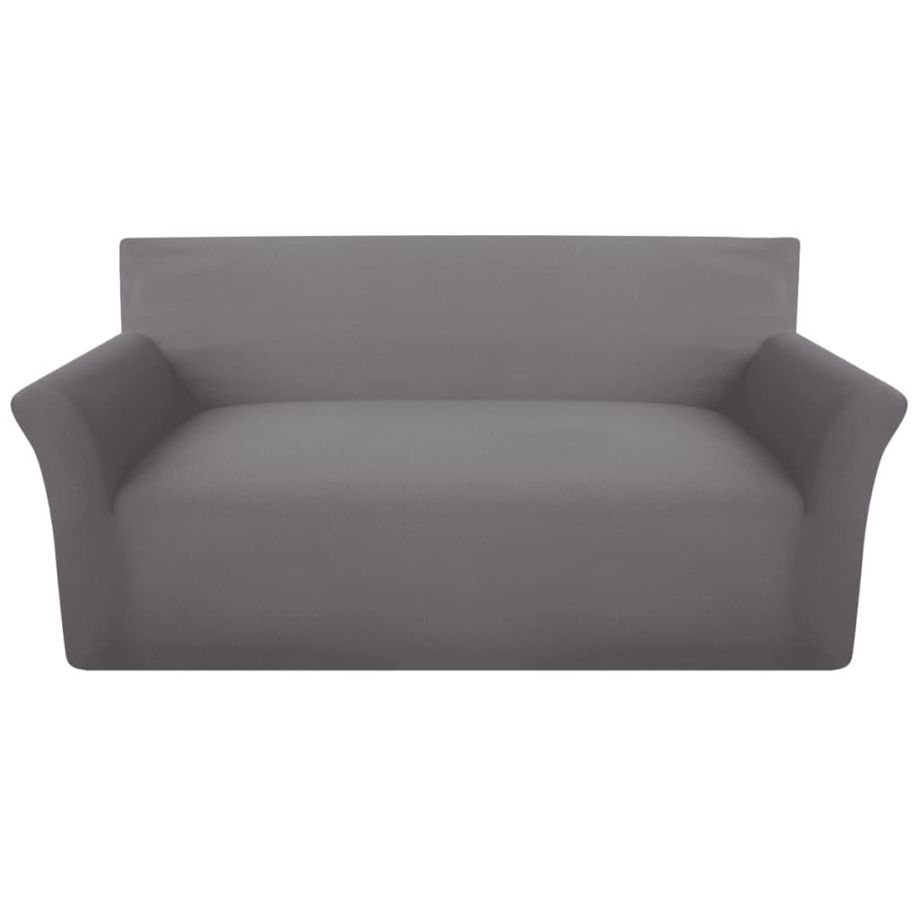 vidaXL Husă elastică pentru canapea din bumbac gri jersey poza 2021 vidaXL