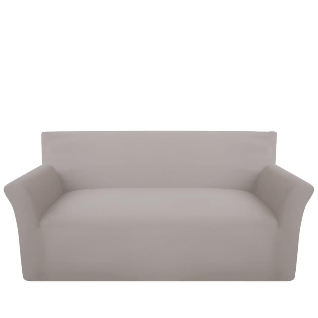 vidaXL Husă elastică din bumbac Jersey pentru canapea, Bej vidaxl.ro