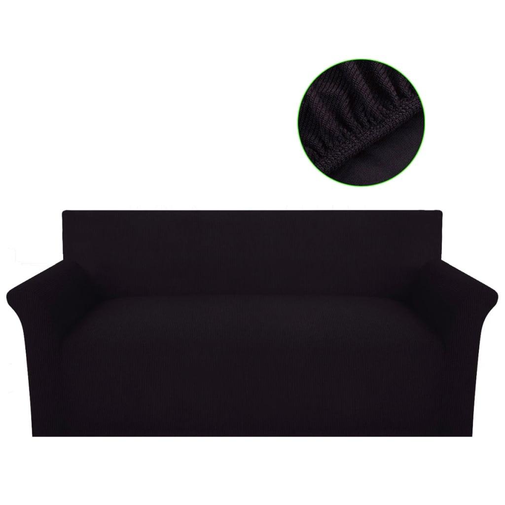 vidaXL Husă elastică pentru canapea din poliester tricotat, maro vidaxl.ro