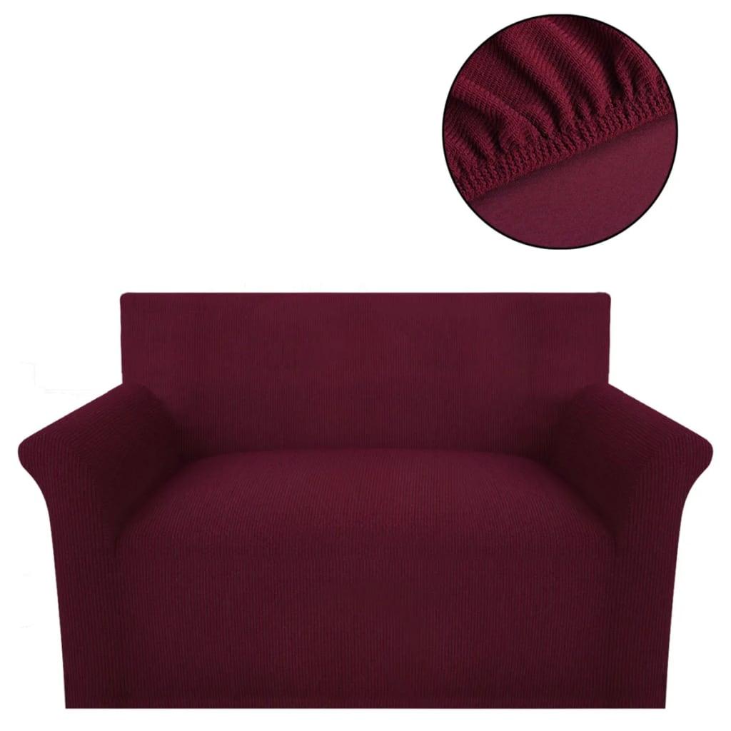 vidaXL Strečový potah na pohovku, vínový polyester, žebrová pletenina
