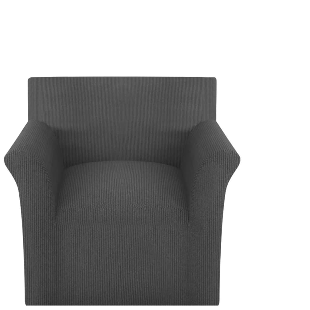 vidaXL Husă elastică pentru canapea din poliester tricotat, gri vidaxl.ro