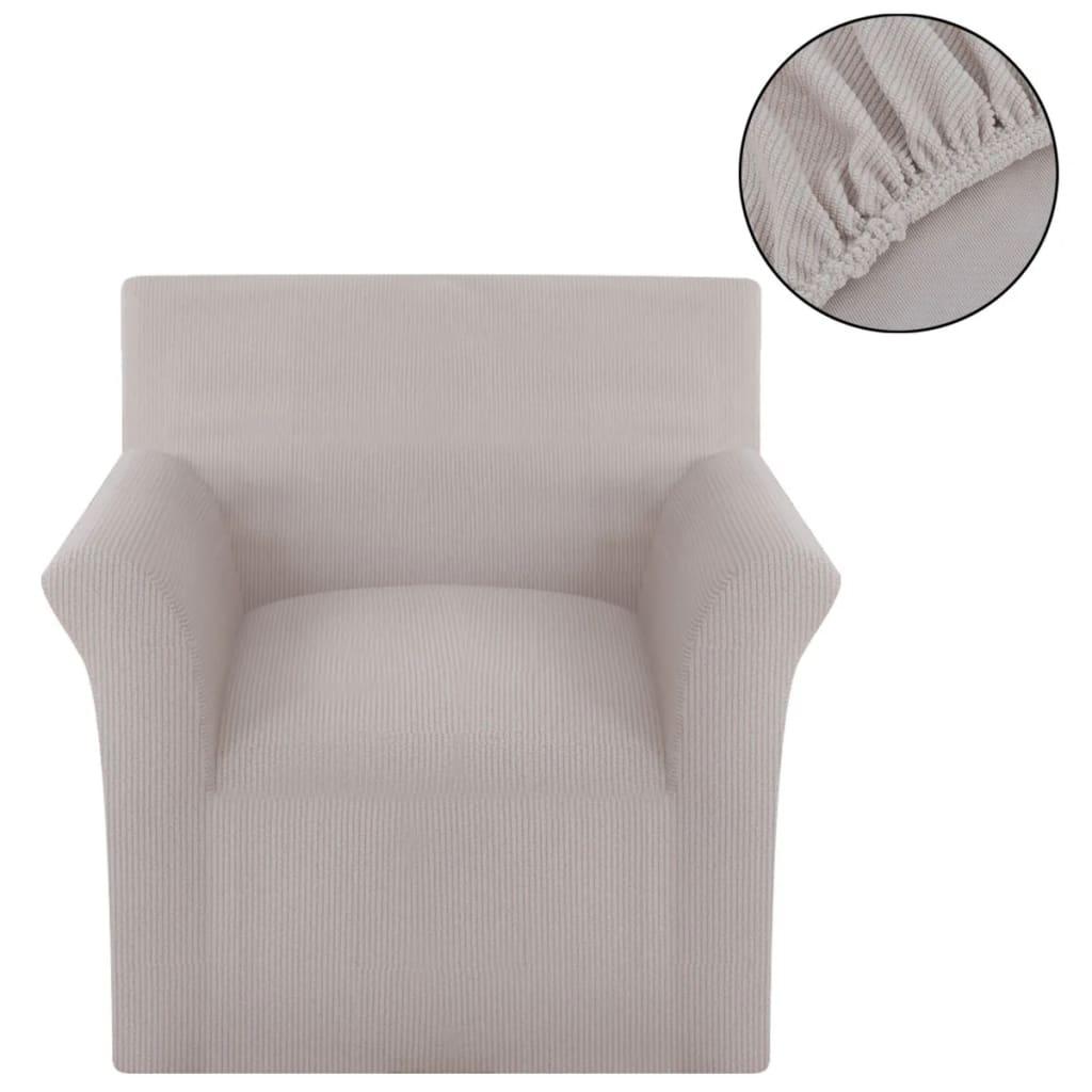 999131039 Sofahusse Stretchhusse Sofabezug Beige Polyester Rippstrick