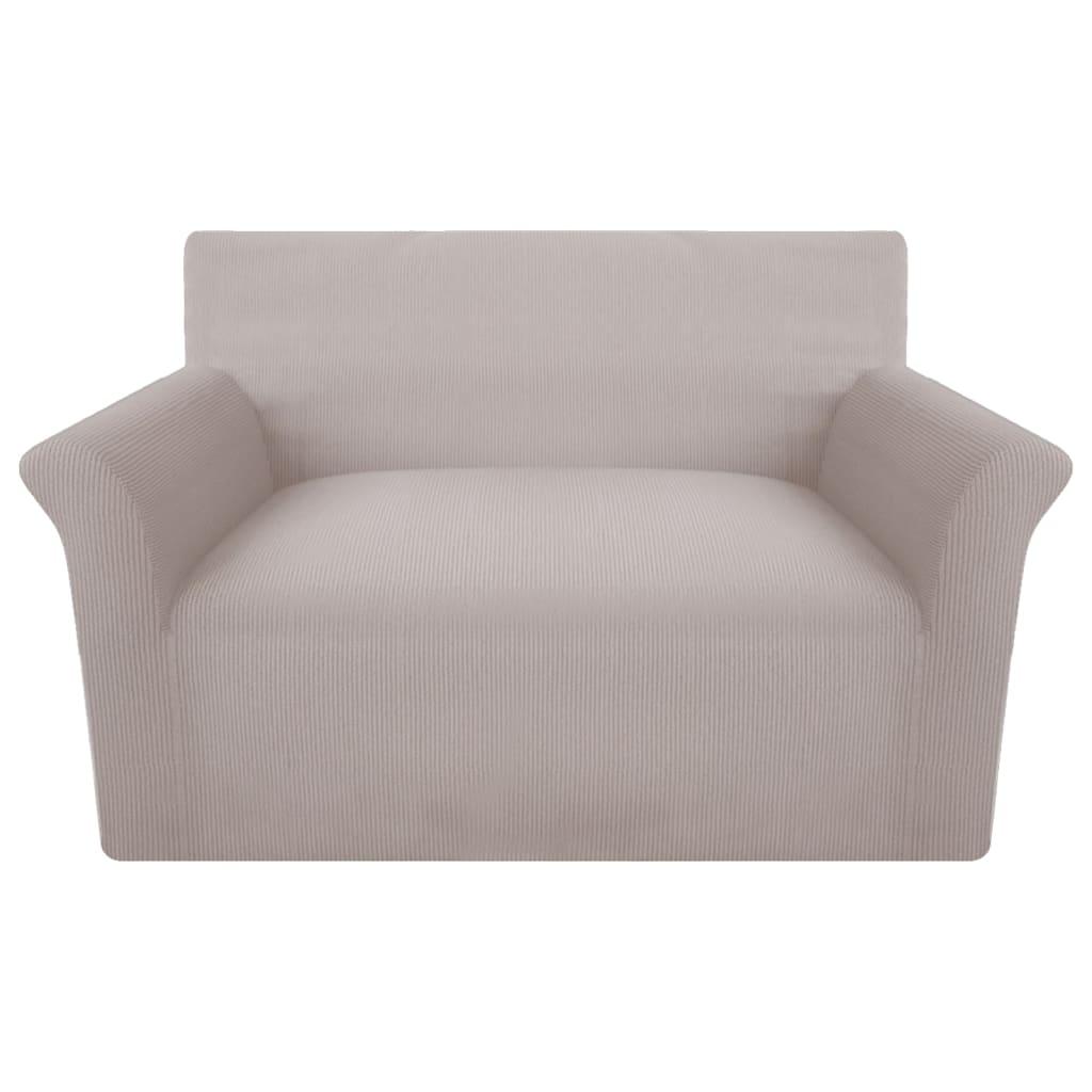 vidaXL Strečový potah na pohovku, béžový polyester, žebrová pletenina