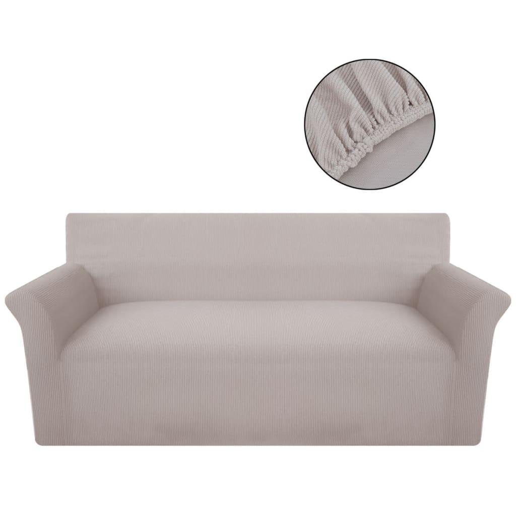 vidaXL Husă elastică pentru canapea din poliester tricotat, Bej poza vidaxl.ro