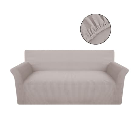 vidaxl housse de canap tissu tricot en polyester extensible beige. Black Bedroom Furniture Sets. Home Design Ideas