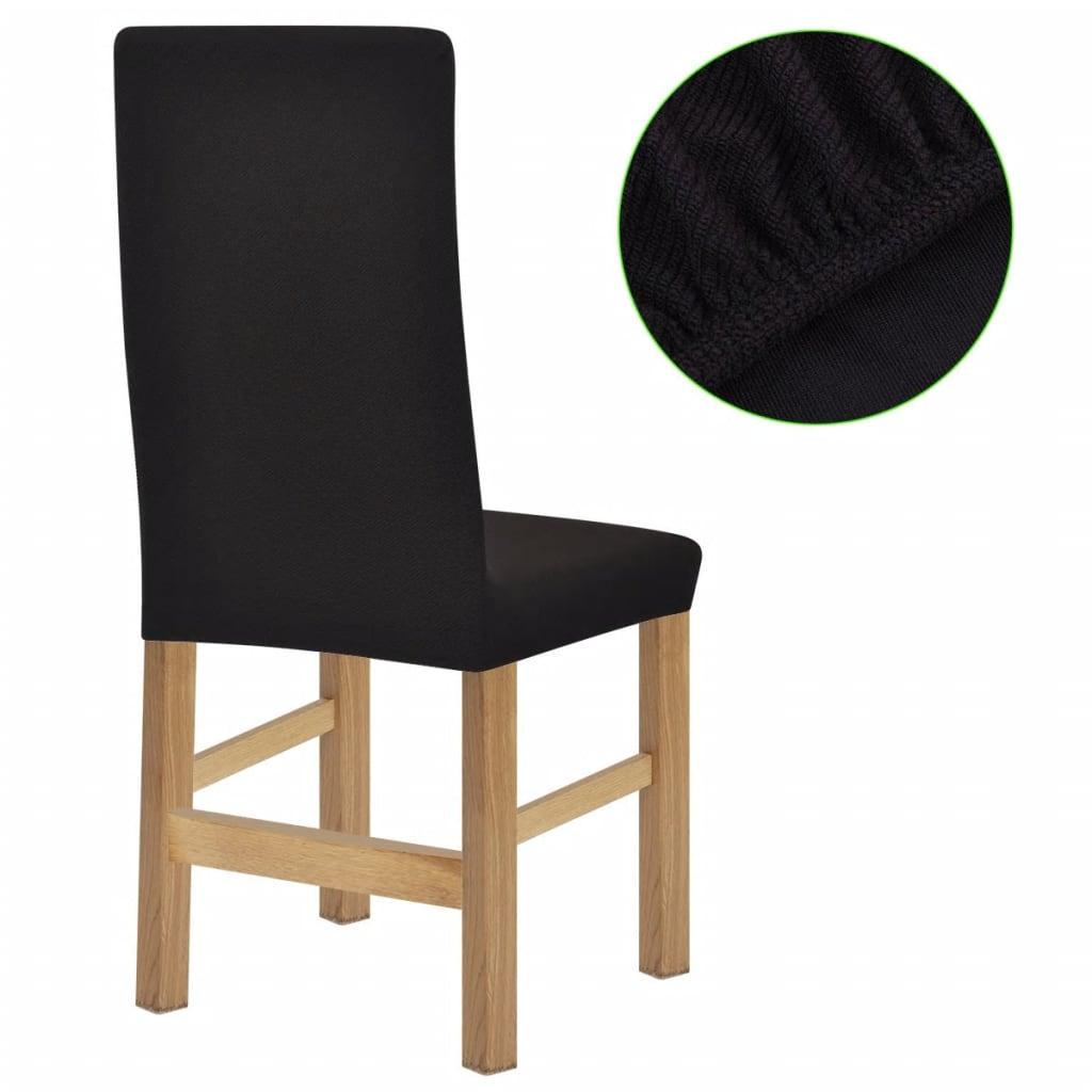 vidaXL Strečové potahy na židle 6 ks hnědý polyester žebrová pletenina