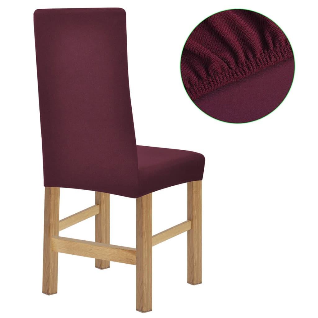 vidaXL Strečové potahy na židle 6ks vínový polyester žebrová pletenina