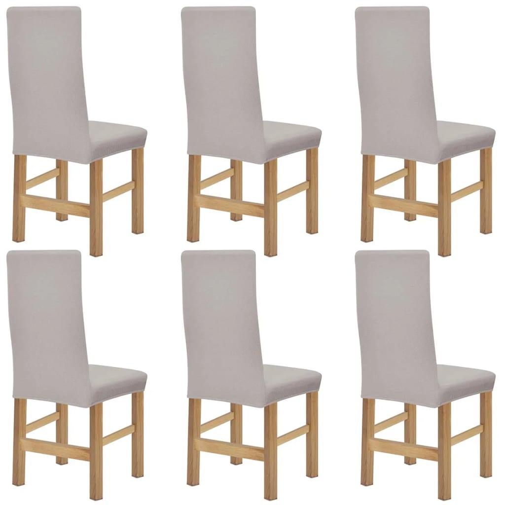 vidaXL Huse elastice pentru scaune din poliester tricotat, Bej, 6 buc. poza vidaxl.ro