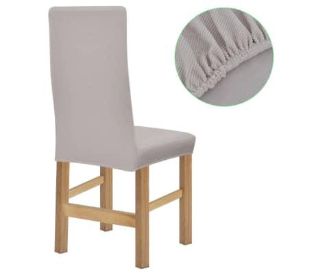 vidaXL Stolsöverdrag 6 st polyester stretch beige[2/5]