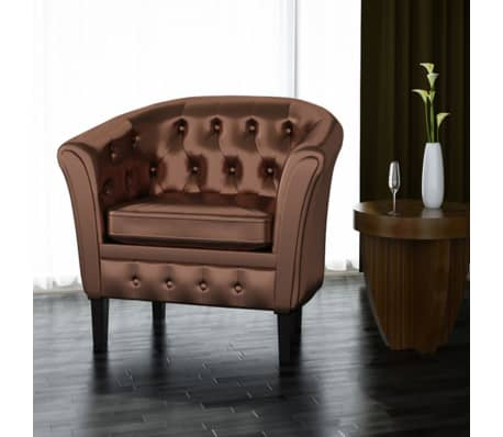 Artificial Leather Armchairs Tub Chair Brown[1/3]