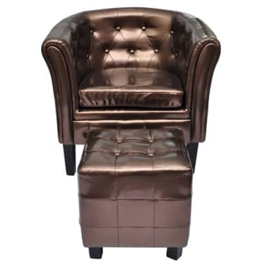 Artificial Leather Tub Chair Armchair with Footrest Brown[2/3]