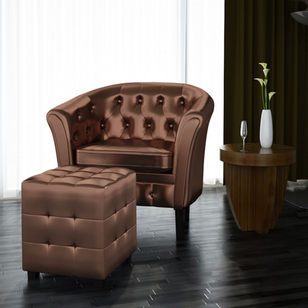 Pleasing Details About Luxury Artificial Leather Tub Armchair With Footrest Bedroom Soft Chair Brown Us Creativecarmelina Interior Chair Design Creativecarmelinacom