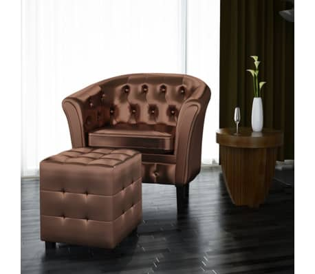 Artificial Leather Tub Chair Armchair with Footrest Brown[1/3]