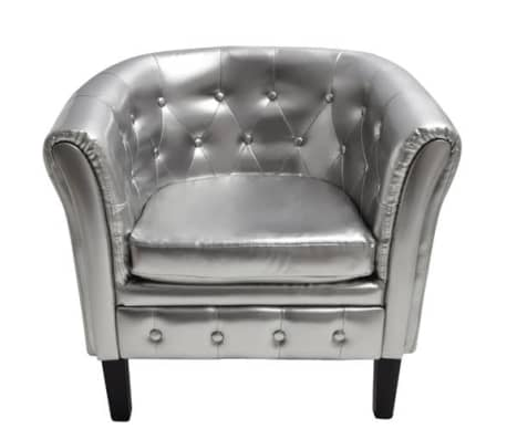 Artificial Leather Armchairs Tub Chair Silver[2/3]