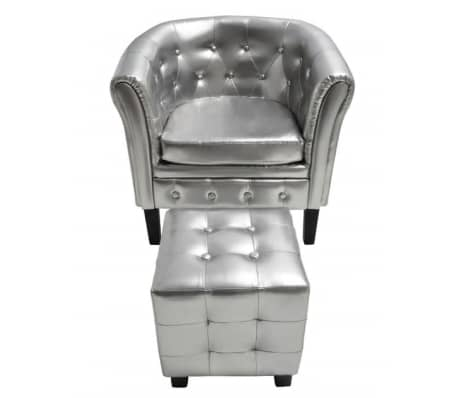 Artificial Leather Tub Chair Armchair with Footrest Silver[2/3]