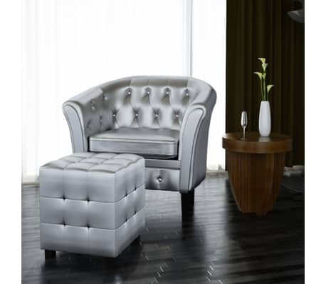 Artificial Leather Tub Chair Armchair with Footrest Silver[1/3]