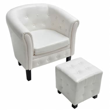 Artificial Leather Tub Chair Armchair with Footrest White[2/5]