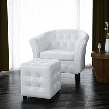 Artificial Leather Tub Chair Armchair with Footrest White[1/5]
