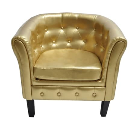 Artificial Leather Armchairs Tub Chair Gold | vidaXL.com