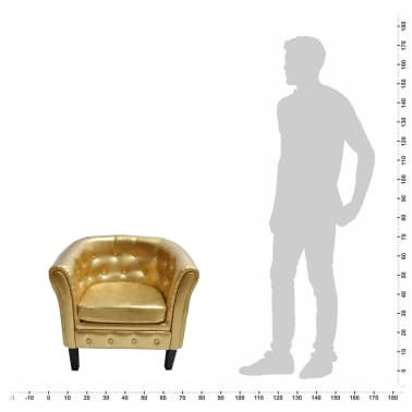 Artificial Leather Armchairs Tub Chair Gold[3/3]