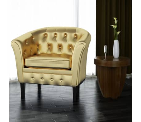 Artificial Leather Armchairs Tub Chair Gold[1/3]