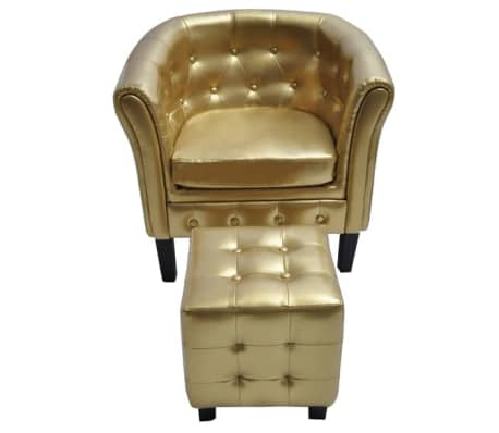 vidaXL Tub Chair with Footrest Gold Faux Leather-picture
