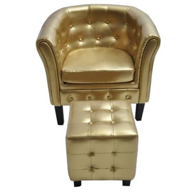 vidaXL Tub Chair with Footrest Gold Faux Leather[2/3]