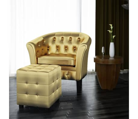Artificial Leather Tub Chair Armchair With Footrest Gold[1/3]